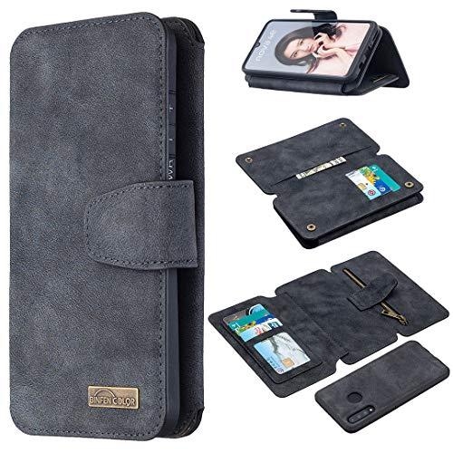 Snow Color Huawei P30 Lite/nova 4e Hülle, Premium Leder Tasche Flip Wallet Case [Standfunktion] [Kartenfächern] PU-Leder Schutzhülle Brieftasche Handyhülle für Huawei P30Lite - COBFE080239 Schwarz
