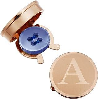 HAWSON أغطية أزرار للرجال - أزرار فضية روز ذهبي مخصصة للرجال أزرار غطاء أزرار للأعراس والمناسبات الرسمية والأحرف الأبجدية A-Z