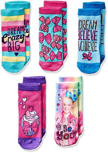 Jojo Siwa girls Jojo Siwa Girl's 5 Pack Shorty Casual Sock, Assorted Shorty, Shoe Size 3-8 US