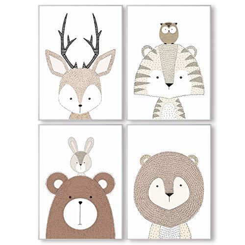 Pandawal Bilder Kinderzimmer Babyzimmer Waldtiere Deko grau Poster Set 4er Tiere für Kinder Junge I Mädchen DIN A4 (S7)
