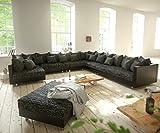 DELIFE Couch Clovis modular - Ecksofa, Sofa, Wohnlandschaft & Modulsofa (Schwarz/Schwarz, Sofa XXL Rechts mit Hocker)