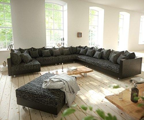 DELIFE Couch Clovis XXL Schwarz mit Hocker Ottomane Rechts Wohnlandschaft Modulsofa
