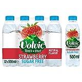 Volvic Touch of Fruit - Agua con sabor a fresa sin azúcar, 12 x 500 ml