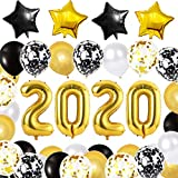 Globos de Graduacion, Xiangmall Decoracion de Graduacion 2020 Globos Dorados y Negros Globos de Aluminio Estrellas Decoraciones de Fiesta de Graduación y Nochevieja (Negro y oro)