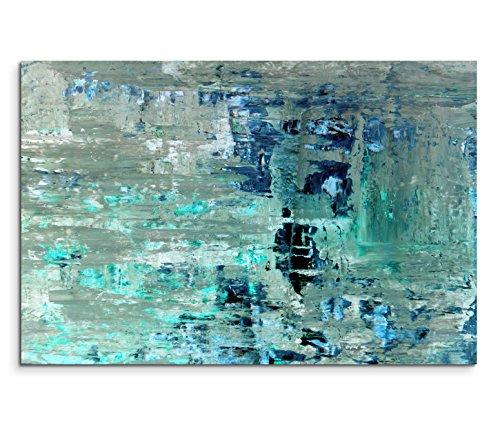 Paul Sinus Art 120x80cm Leinwandbild auf Keilrahmen Kunstmalerei blau grün abstrakt Wandbild auf Leinwand als Panorama