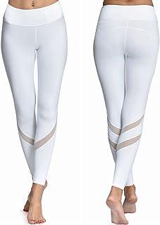 Chikool Women Yoga Pants Mesh Workout Gym Running Leggings Inner Pocket Non See Through
