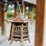 zenggp Vintage Cast Iron Japanese Pagoda Oriental Hanging Garden Lantern Candle Holder Indoor/Outdoor,A