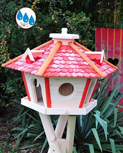 Vogelhaus Massivholz,wetterfest, mit Ständer / mit Standfuß und Silo,Futtersilo für Winterfütterung, Vogelvilla XXXL Vöglehus Vogelhäuschen, groß aus Holz SR60roM rote Holzschindel - 2