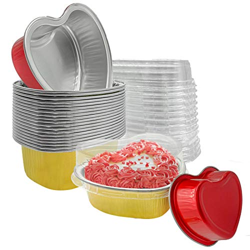 Valentine Aluminum Foil Cake Pan 20 Packs Heart Shaped Cupcake Cup with Lids 100 ml/ 3.4 ounces Disposable Mini Cupcake Cup Flan Baking Cups Pan with Lid (20 Packs,gold + red)