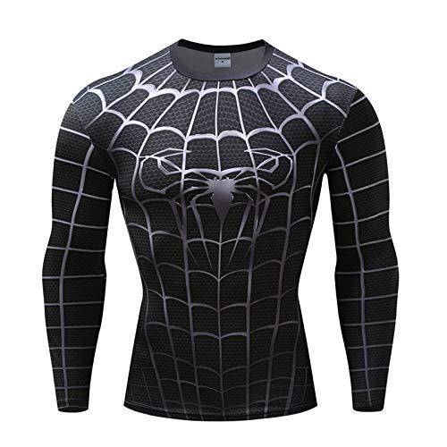 JUFENG Spiderman 3D Print T-Shirts Männer Compression Fitness Shirts Superheld Tops Marvel Kostüm Kurzarm Fitness Crossfit T-Shirts Cosplay Und Themenparty,C-L