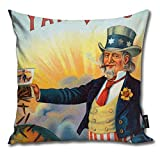 N/A Throw Pillow Cover Square Vintage Yankees Cigar Label, Patriotic Uncle Sam...