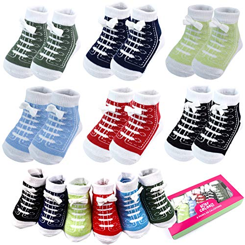 6 Pairs 0-6 month Baby Sneaker Newborn Ankle Sock Toddler...