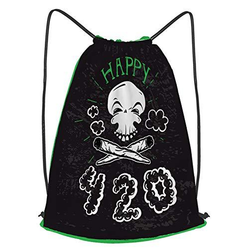 Impermeable Bolsa de Cuerdas Saco de Gimnasio Cultivo de marihuana Happy 420 con calavera Stoner y pipas de fumar diseños dibujados a mano Deporte Mochila para Playa Viaje Natación