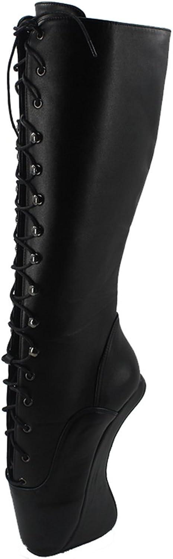 Wonderheel 7  Wedges Heel matt Black Fetish Knee high Boots lace up Ballet shoes