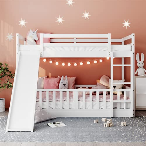 Bunk Bed with Slide, Twin Over Twin Bunk Bed for Kids Toddlers, Wood Low Beds Frame with Ladder for Boys and Girls, No Box Spring Needed, White