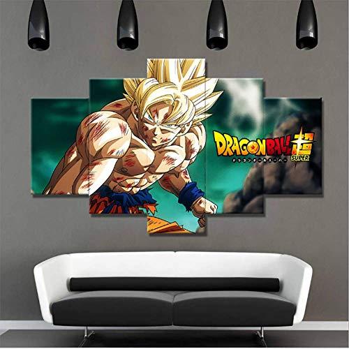 QJXX 5 Panelen Canvas Schilderij Dragon Ball Schilderij HD Print Op Canvas Wall Art Home Deco Voor Woonkamer (Geen Frame)