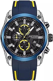 Megir Wrist Watch for Men ,Chronograph , Silicone , MN2063GBE-6 Blue
