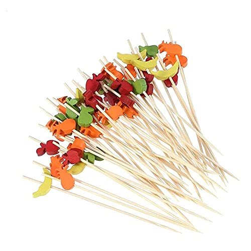 Crafttable 4.7' Bamboo Skewers Appetizer Picks, 100ct Bamboo Cocktail Picks Toothpicks for Fruit Snacks Cake Decor, 14