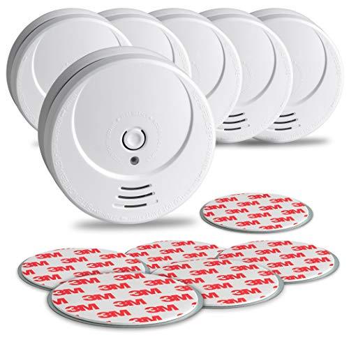 SEBSON 10 Jahres Rauchwarnmelder inkl. Magnethalterung - 6er Set - DIN EN 14604 Zertifiziert, fotoelektrischer Rauchmelder, Lithium Langzeit Batterie