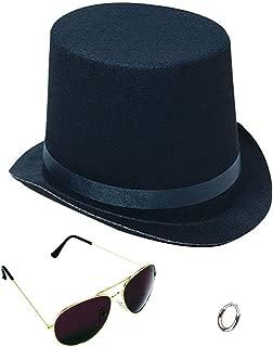 Lip Ring Top Hat and Aviator Sunglasses The Slash Bundle Costume Accessories Black/Silver