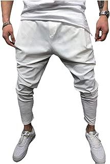 LifeHe Men's Hip Hop Elastic Waist Harem Low Crotch Pants Joggers Sweatpants