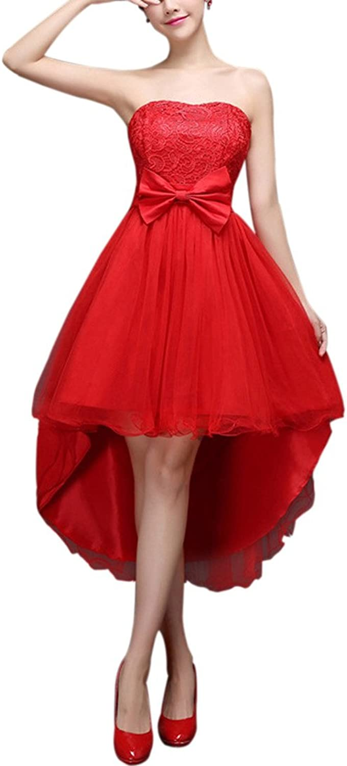 JudyBridal Women Strapless Hilo Tulle Stretch Back Bridesmaid Dresses