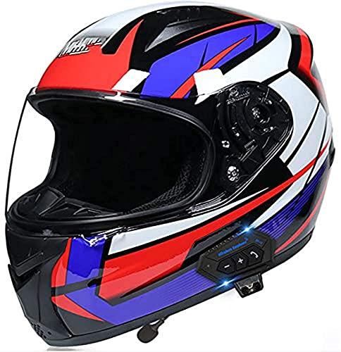 LYP Cascos de Motocicleta Bluetooth Viseras Dobles de Cara Completa Cascos de Motocross modulares Auriculares con Altavoz Incorporado Micrófono para Respuesta automática Certificación Dot/ECE