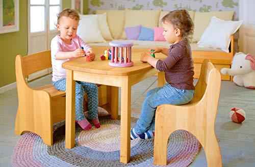 BioKinder 24785 Levin Kindersitzbank Sitzbank Truhenbank für Kinder aus Massivholz Erle und Kiefer 70 x 36 x 55 cm Flieder lasiert - 2