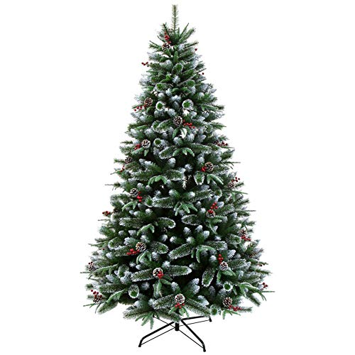 GSKJ Traditional Christmas Tree with 54 Red Pine Cones,670 Branches,Metal Frame,for Christmas Indoor and Outdoor Decoration