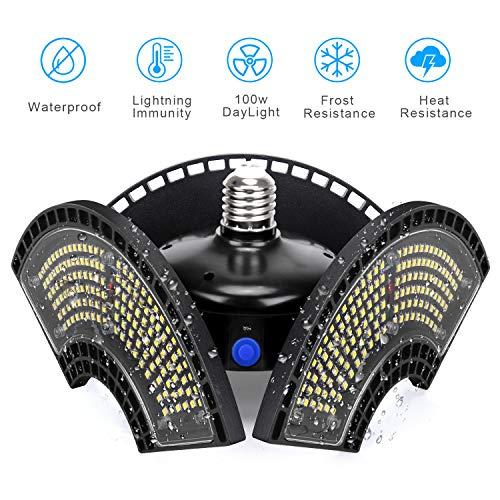 2020 LED Garagenleuchten, 100W Verformbare LED Garagendeckenleuchten IP65 Wasserdichte Dämmerung bis Zum Morgengrauen 6000K Tageslicht 12000LM CRI 80 LED Ladenleuchten Mit 3 Verstellbaren Paneelen