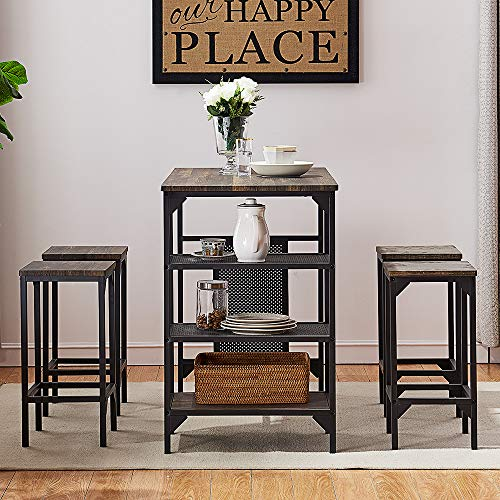 O&K FURNITURE 5-Piece Dining Room Table Set, Bar Pub Table Set, Industrial Style Counter Height Kitchen Table with 4 Backless Bar stools for Dining Area, Gray-Brown Finish