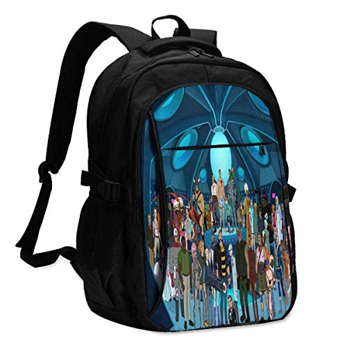 TV Show Venture Bros Backpack Travel Laptop Backpack with USB Charging Port Headphone Interface College Bookbag for Women Men Boys Business Travel Anti Theft Backpack