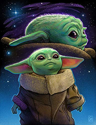 ALTRUB Large Size (Canvas Size: 17.7 x 13.8 inch) DIY 5D Diamond Painting Kits for Adults and Kids, Full Round Drill Crystal Rhinestone Embroidery Arts Craft for Wall Décor - Baby Yoda