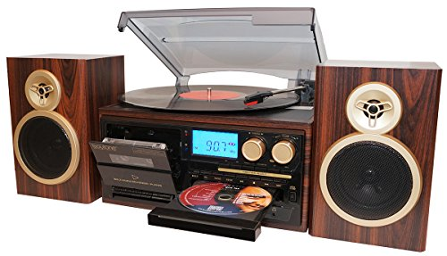 Boytone BT-28SPM, Bluetooth Classic Style Record Player Turntable with AM/FM Radio, CD/Cassette Player, 2 Separate Stereo Speakers, Record from Vinyl, Radio, and Cassette to MP3, SD Slot, USB, AUX.