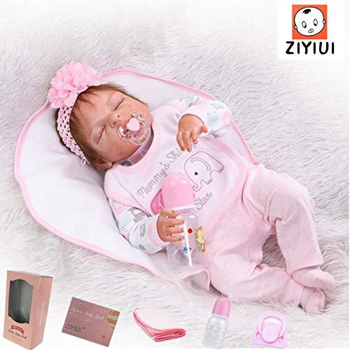 ZIYIUI Reborn Babys Mädchen 23 Zoll 58cm Ganzkörper silikon Vinyl baby Reborn puppen lebensecht Neugeborenes Baby Schlafende Puppen Magnetisch Schnuller Spielzeug
