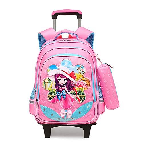 BAACD Con ruedas mochila mochila escolar para niñas estudiantes carritos niños de 7-12 años de edad impermeable y liviano clase 2-6 escuela primaria mochila de viaje mochila escolar rosa
