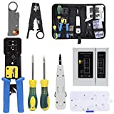 Rj45 Crimping Tool Kit for CAT5/CAT6, Professional Computer Maintenacnce LAN Cable Tester Network Repair Tool Set by SILIVN - Pack of 8
