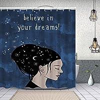 シャワーカーテン黒髪と月の星を持つ女性の肖像デイドリームビリーバーはフェミニンアートを引用します 防水 目隠し 速乾 高級 ポリエステル生地 遮像 浴室 バスカーテン お風呂カーテン 間仕切りリング付のシャワーカーテン 150 x 180cm