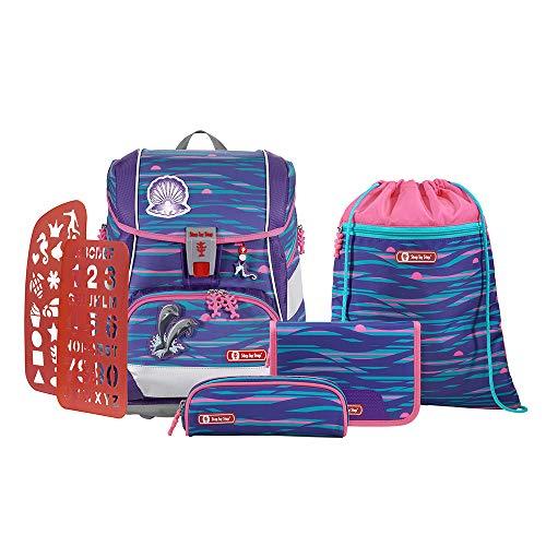 """Step by Step Schulranzen-Set 2IN1 Plus Reflect """"Shiny Dolphins"""" 6-teilig, lila-blau, Delfin-Design, ergonomischer Tornister mit Reflektoren, höhenverstellbar mit Hüftgurt für Mädchen 1. Klasse, 19L"""
