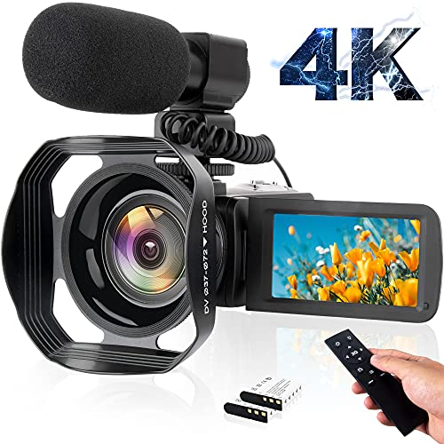 VETEK 4K Camcorder 48MP 60FPS Ultra HD Vlog Video Camera for YouTube, 3 Inch Touch Screen IR Night Shot Digital Camera with Microphone, WiFi, Remote Control, Lens Hood, 2 Battery, Battery Charger