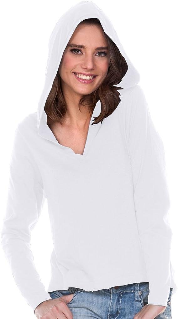 Kavio! Women Sheer Jersey V-Neck High-Low Long Sleeve Hoodie