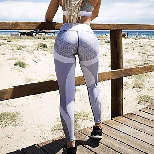 B/H Camiseta para Mujer Yoga Deportiva Colores Lisos,Leggings de Malla Sexy, Leggings elásticos de fitness-style1-gray_M, Yoga Corriendo Fitness Pantalones