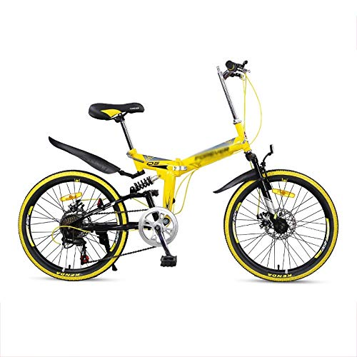 Rindasr 26-inch Folding Bikes Mountain Bike,High Carbon Steel Frame + Double disc Brake,Fast Loading Ultra-Portable 24-Speed Bicycle (Size : 22-inch 7-Speed A)
