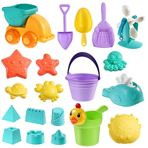 TOYANDONA Sandspielzeug-Set für Kinder, mit Schlossformen, Muldenkipper, Eimer, Gießkanne, Strandschaufel, Werkzeug-Set, für drinnen und draußen, mit Netztasche, 20 Stück