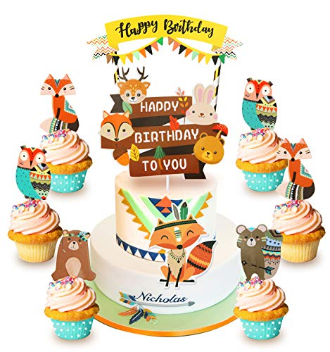 Happy Birthday Fuchs Tiere Tortendeko Kindergeburtstag Kuchendekoration Cake Topper (Fuchs Set)
