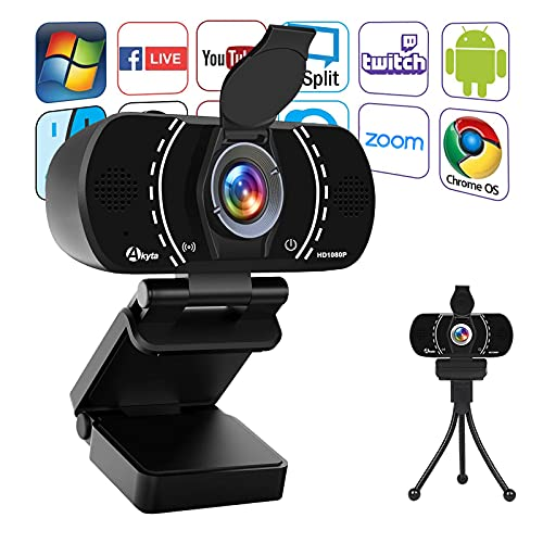 PC Webcam 1080P Web Camera, Akyta USD HD Webcam with Microphone for desktop computer laptop Streaming, Video Conferencing, Calling, Recording, 110 Degree, Computer Camera with Privacy Cover and Tripod