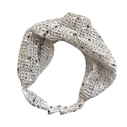 FzJs-J-in Serre-tête brodé pour femme Style vintage ultra fin Motif floral, blanc, Grid