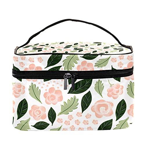 Bolsa de maquillaje de viaje bolsa de cosméticos bolsa de maquillaje organizador para mujeres y niñas, flores rosas y hojas verdes