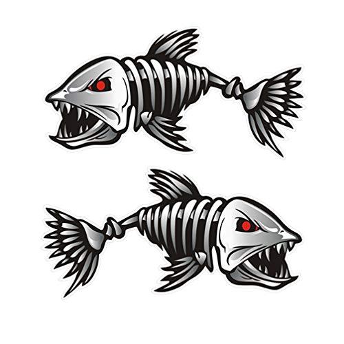 "2Pcs Bonefish Sticker Fish Skull Decals Fish Skeleton Fish Skull Piranha Fish Sticker for Car Window Mobilephone 5.8""x2.3"""