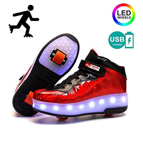 YURU Kinder Heelies Leuchtende Glühende Turnschuhe Führten Helle Rollen-Rochen-Schuhe Kinder Führten Schuhe Jungen-Mädchen USB-Aufladung,Beige-EU39